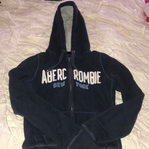 Abercrombie & Fitch navy blue zip up hoodie